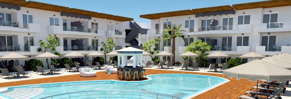 Skissbild på poolområdet på hotell Pelopas i Tigaki på Kos, Grekland.