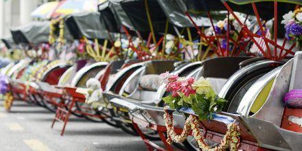Ta en åktur i rikshaw under semestern i Penang.