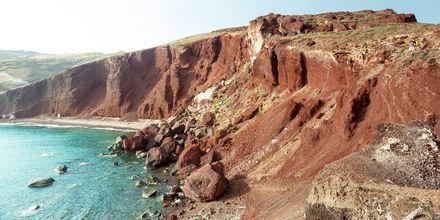 Vulkanlämningar i Perissa/Perivolos, Santorini.