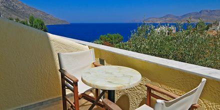Utsikt från enrumslägenhet på hotell Philoxenia i Massouri på Kalymnos.