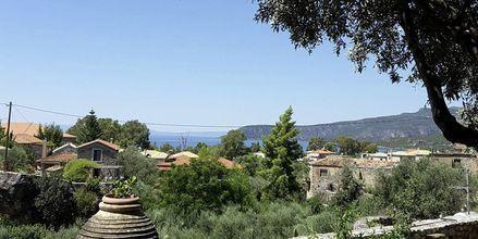 Utsikt från hotell Pierides i Kardamili, Grekland.