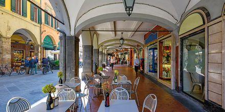 Mysig gata i Pisa, Toscana, Italien.