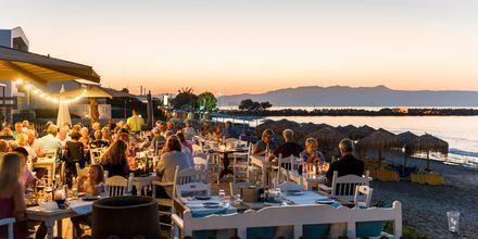 I Platanias ligger den populära restaurangen Olive tree med utsikt över havet.