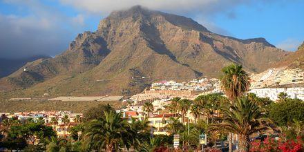 Playa de las Americas omfamnas av mäktiga berg.