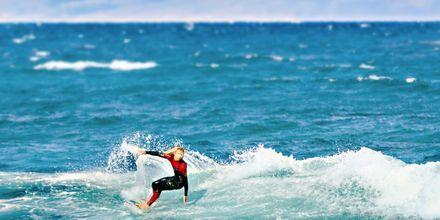 Surfing utanför Playa de las Americas på Teneriffa, Spanien.