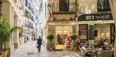 Njut av lummiga och lugna gator i Palma, Mallorca, Spanien.