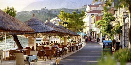 Strandpromenaden i Podgora har mysiga caféer och livfulla barer.