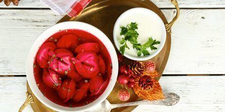 En klassisk maträtt i Polen är Borsch, soppa, ofta gjord på rödbetor.