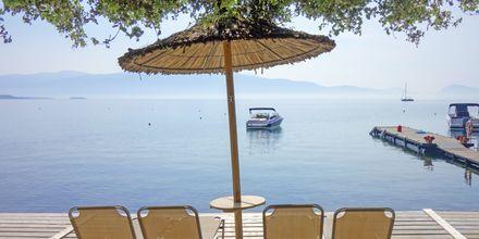 Soldäck på hotell Porto Galini, Lefkas i Grekland.