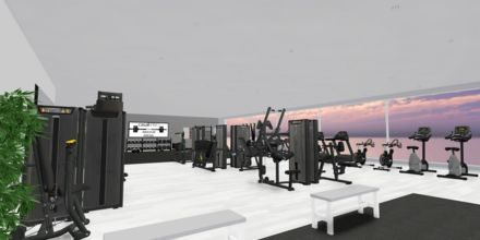 Skissbild på gymmet på Porto Myrina – powered by Playitas