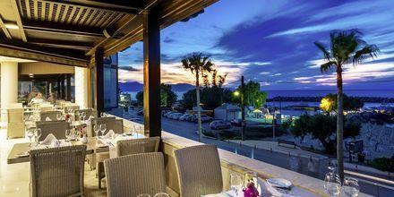 Restaurang på hotell Porto Platanias på Kreta.