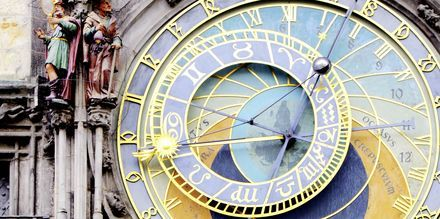Det astronomiska uret på stadshuset i Prag, Tjeckien.