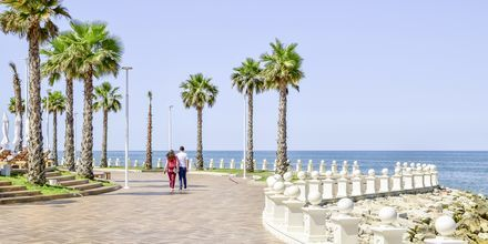 Promenaden längs havet vid Prestige Resort, Durres riviera, Albanien.