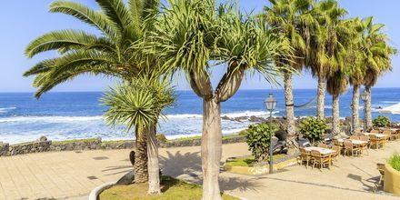 Restaurang längs strandpromenaden i Puerto de la Cruz på Teneriffa, Kanarieöarna.