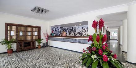 Receptionen på hotell Radisson Goa Candolim i norra Goa, Indien.