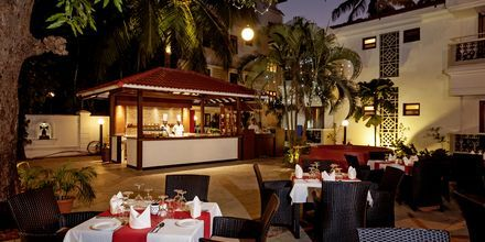 Restaurangen på hotell Radisson Goa Candolim i norra Goa, Indien.
