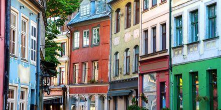 Vackra hus i Rigas gamla stan.