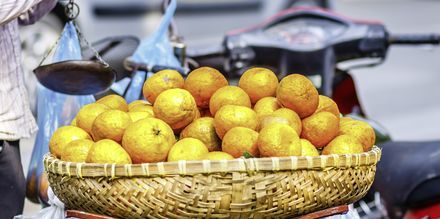 Fruktmarknad i Saigon, Vietnam.