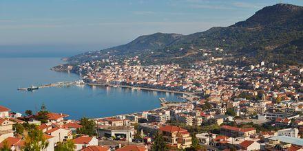 Vacker utsikt över Samos stad.