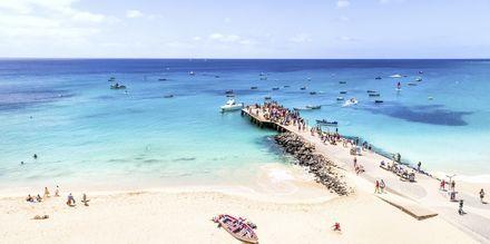 Den välkända piren vid Santa Maria Beach på ön Sal, Kap Verde.