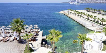 Utsikt från hotell Santa Quaranta i Saranda, Albanien.