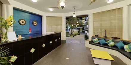 Receptionen på hotell Santiago Goa i Indien.