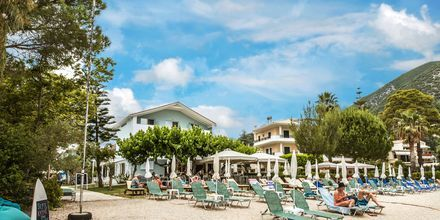 Strand på hotell Seaview på Lefkas.