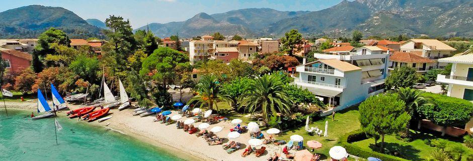 Stranden vid hotell Seaview på Lefkas, Grekland.