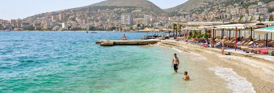 Stranden nedanför hotell Seiko i Saranda.
