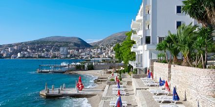 Stranden närmast hotell Serxhio i Saranda, Albanien.