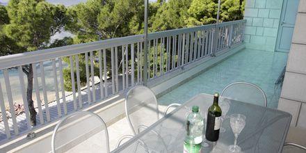 Utsikt från lägenhet på hotell Simic i Makarska, Kroatien.