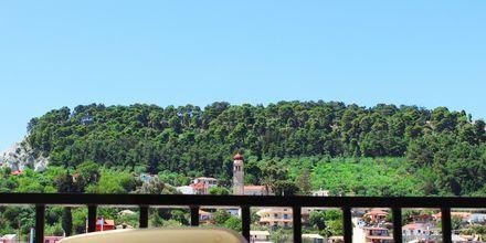 Utsikt från dubbelrum på hotell Strada Marina på Zakynthos i Grekland.