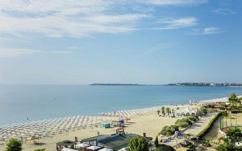 Stranden i Sunny Beach i Bulgarien.