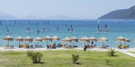 Utsikt från hotell Sunwaves i Vassiliki på Lefkas.