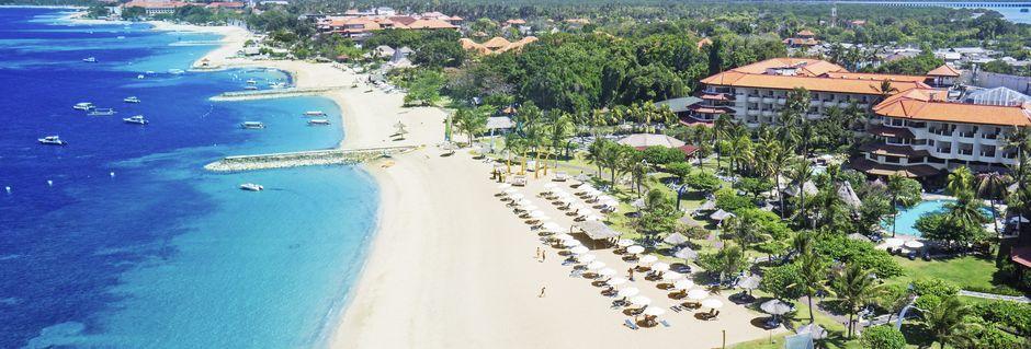 Stranden utanför hotell Grand Mirage Resort.