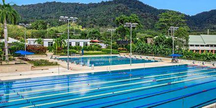 25 och 50-meterspoolerna på Thanyapura Sport & Health Resort i Thalang på Phuket.