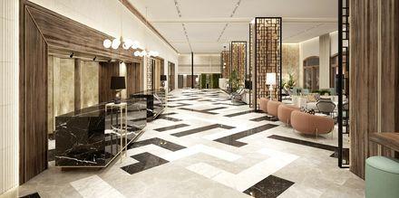 Skissbild på receptionen på hotell Theartemis Palace på Kreta, Grekland.