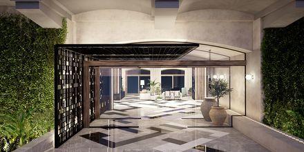 Skissbild på entrén på hotell Theartemis Palace på Kreta, Grekland.
