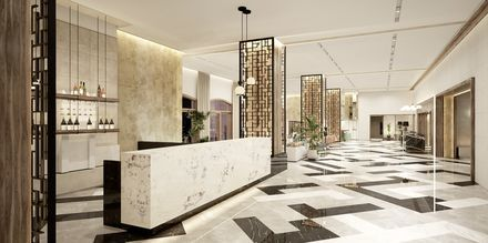 Skissbild på lobbybaren på hotell Theartemis Palace på Kreta, Grekland.