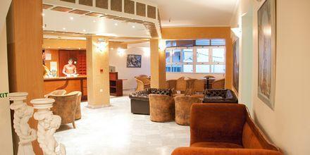 Receptionen på hotell Theo i Rethymnon, Kreta.
