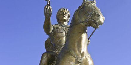 Staty av Alexander den store i Thessaloniki, Grekland.