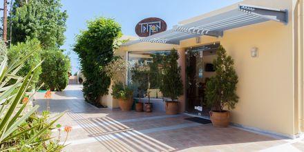 Entré på hotell Triton i Agii Apostoli, Kreta.