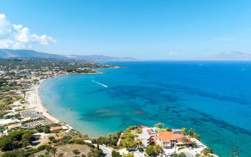 Stranden i Tsilivi på Zakynthos, Grekland.