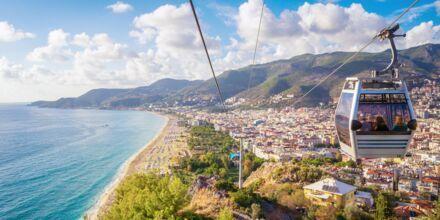 Linbana över Alanya, Turkiet.