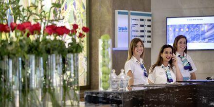 Reception på hotell Turquoise i Side, Turkiet.