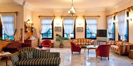 Lobby på hotell Veggera på Santorini, Grekland.