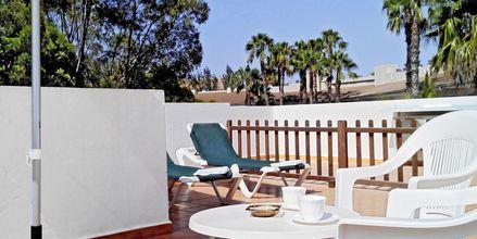 Terrass på hotell Venecia i Alcudia på Mallorca, Spanien.
