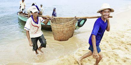Fiskare i Phan Thiet i Vietnam.