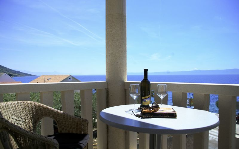 Utsikt från tvårumslägenhet på Villa Dzamonja i Brac, Kroatien.