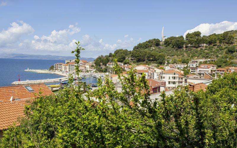 Utsikt från Villa Mandarina i Podgora, Kroatien.